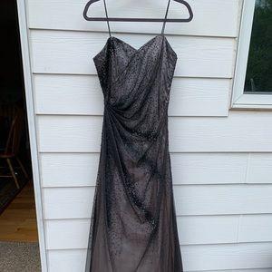 Silver black prom dress
